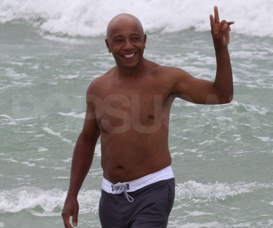 Slide Picture of Russell Simmons Shirtless in Miami