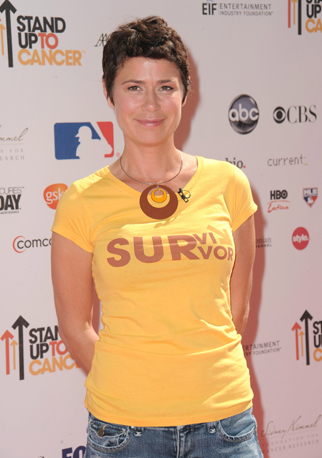 """Maura Tierney spoke about the challenge of losing her hair while undergoing chemotherapy for breast cancer. She reported being cancer-free in 2010: """"Being bald is no fun. It just happens; your hair falls out in kind of a weird way — sort of like you're shedding — so at a certain point you're just like, I have to shave my head. It's very vulnerable because your hair is perceived as strength or vitality."""""""