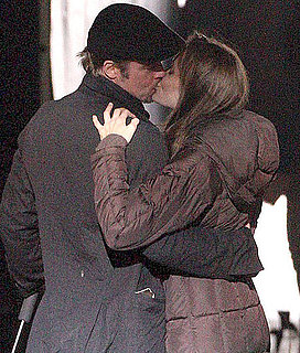 Pictures of Angelina Jolie and Brad Pitt Kissing On Set Of Her Movie In Hungary