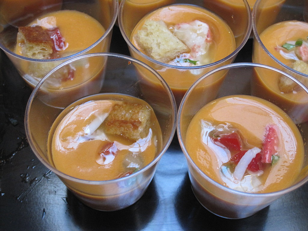 Baker and Banker was serving a scrumptious heirloom tomato gazpacho with cucumber and lobster relish. It was divine!