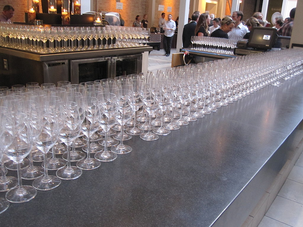 Glasses lined up for the party goers!