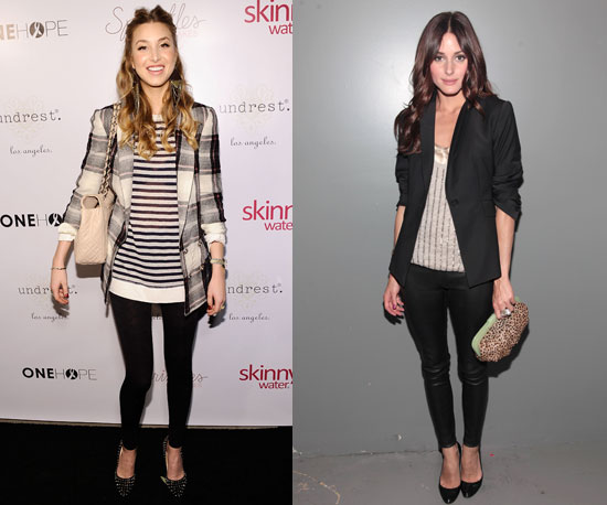 See what they can do with a pair of black leggings: Whitney adds a plaid print; Olivia adds a black blazer to her liquid leather leggings.