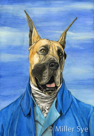 These watercolor paintings of pets are all modeled after famous historical paintings and people. Love this Great Dane Houdon ($17) — so regal!