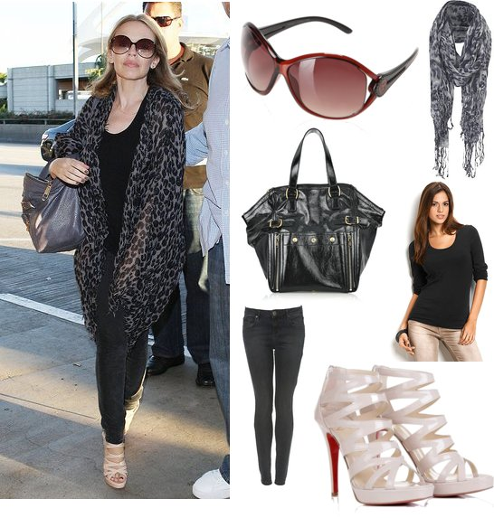 Photo of Kylie Minogue Leaving LAX Airport in Leopard Print Scarf ...