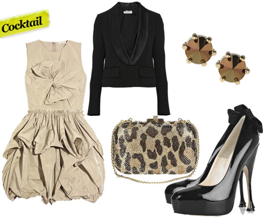 Carven Satin Ruffle Dress ($950), See by Chloe Tuxedo Jacket ($192, originally $640), Marc by Marc Jacobs Faceted Studs ($48), Judith Leiber Leopard Clutch ($2,495), Brian Atwood Donna Pumps ($720)
