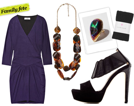 Tibi Wrap-effect jersey dress ($395), Forever 21 Chunky Double Bead Necklace ($8), Dara Ettinger Heather Disco Ring ($120), See by Chloé Floral Lace Tights ($35, originally $115), Chrissie Morris Iris Stingray Sandal ($960)