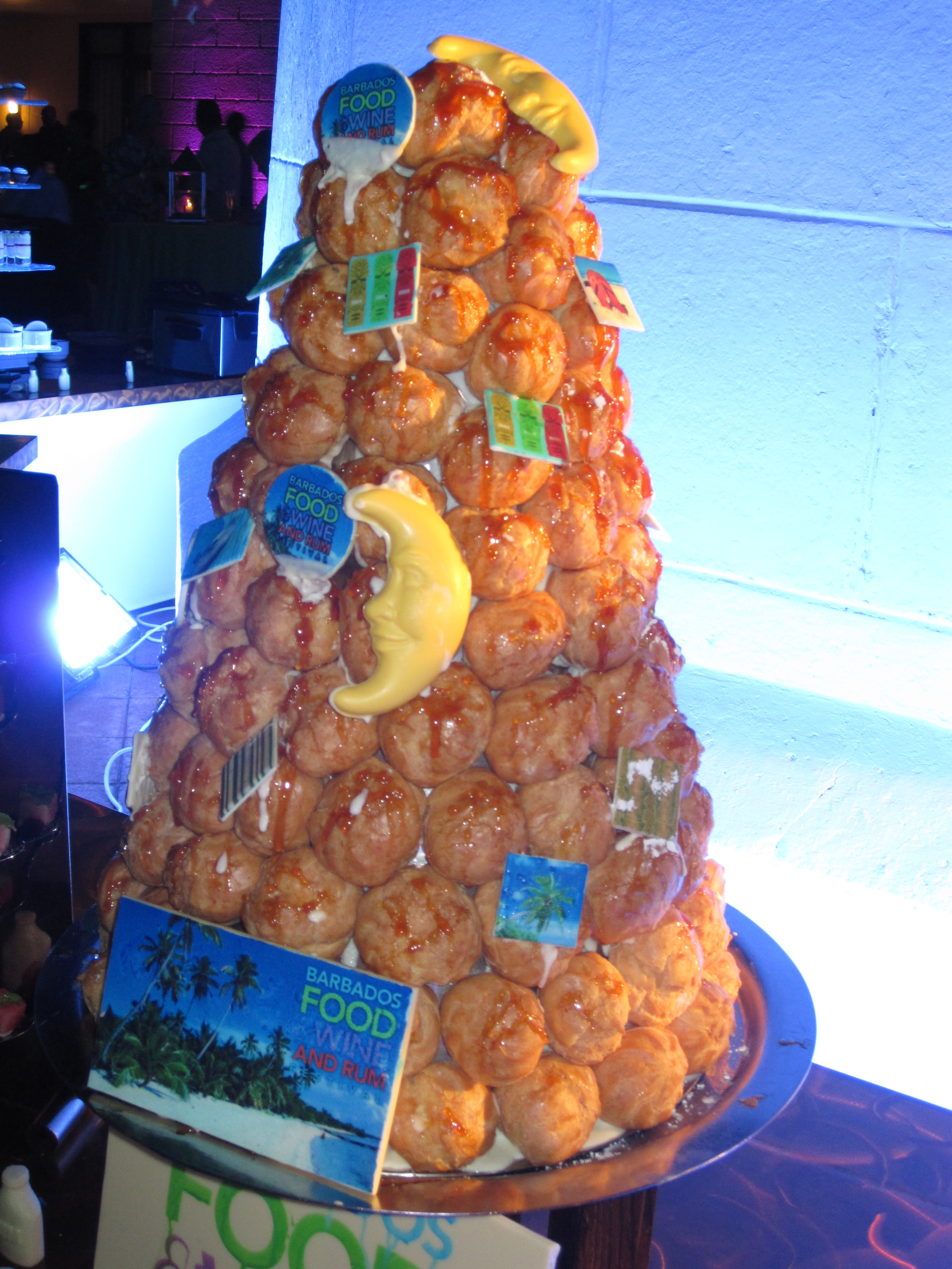 Croquembouche, a cream puff tower, dotted with edible chocolate was finger-licking good.