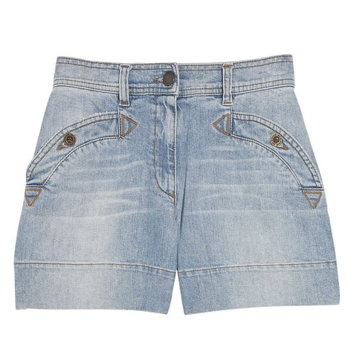Curved Pocket Denim Shorts