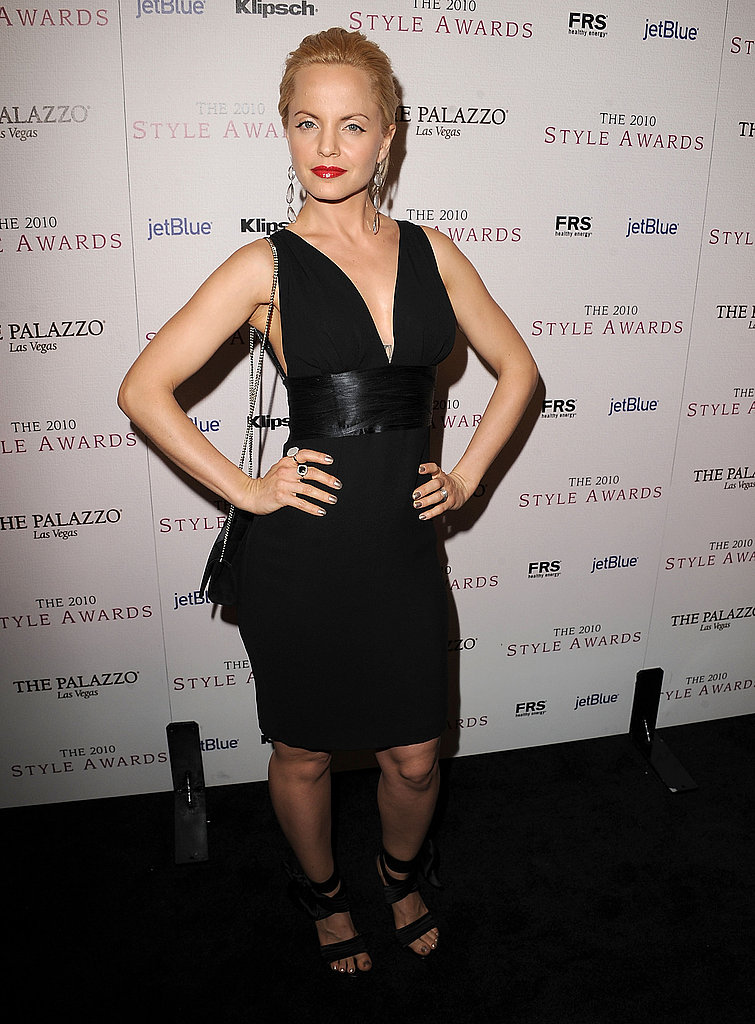 Mena Suvari also opted for an LBD — her's with a defined waist and sexier neckline.