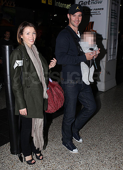 Pictures of Dannii Minogue, Kris Smith, and Baby Ethan at Melbourne Airport to Spend Christmas in Australia