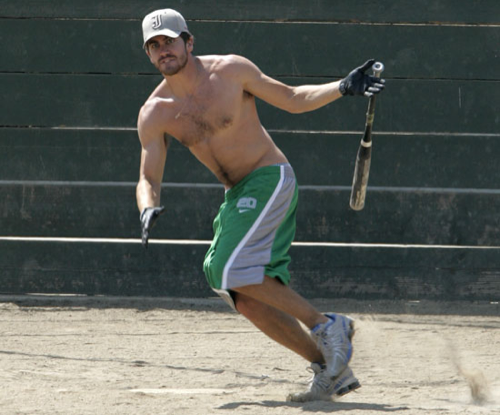 He shed his shirt and took off running during a friendly softball game in August 2005.