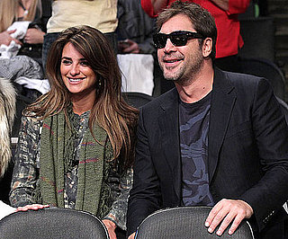 Slide Picture of Penelope Cruz and Javier Bardem at the Lakers Game