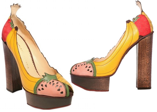 Charlotte Olympia Designs Fruit Covered Platform Heels