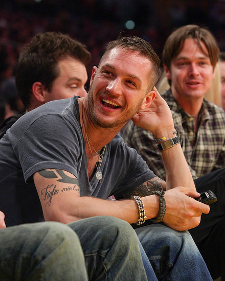 Pictures of Tom Hardy, Sacha Baron Cohen, Heidi Klum and Seal at the Lakers Game in LA 2011-01-10 13:38:13