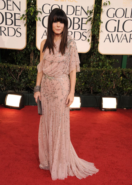 Sandra Bullock chose a nude, beaded Jenny Packham dress that draped so beautifully.