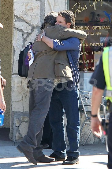 Pictures of Matt Damon Hugging Thomas Haden Church on Set