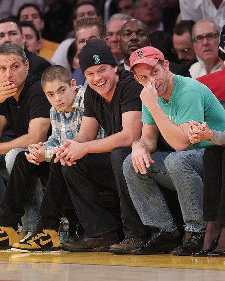 Pictures of Matt Damon, Zac Efron, Brooklyn Decker at Celtics vs. Lakers Game in LA