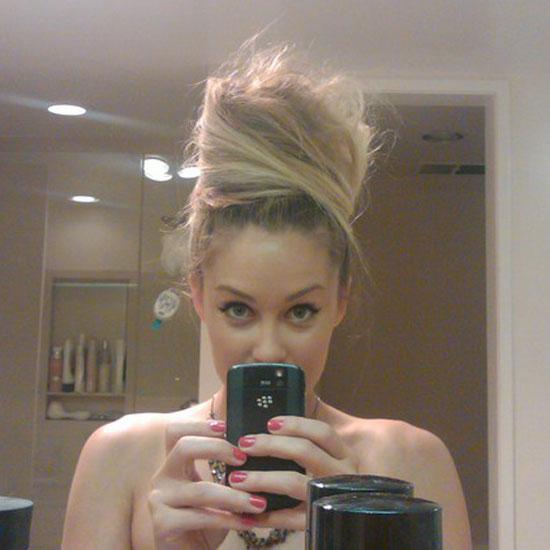 Lauren showed off her tall hairstyle.  Source: Twitter user laurenconrad