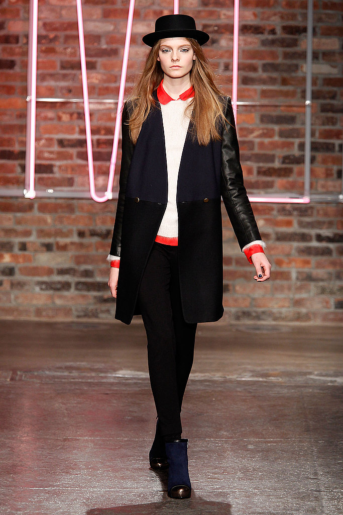 Fuzzy Mohair Sweaters, Tuxedo Striped Capes, and Graphic Lines Dominate DKNY's Fall 2011 Collection