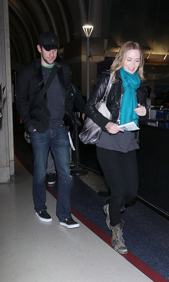 Pictures of Emily Blunt at LAX with JHusband John Krasinksi