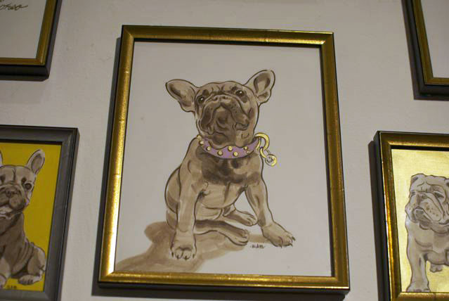A sketch of a French Bulldog looking lavish in her pink collar.