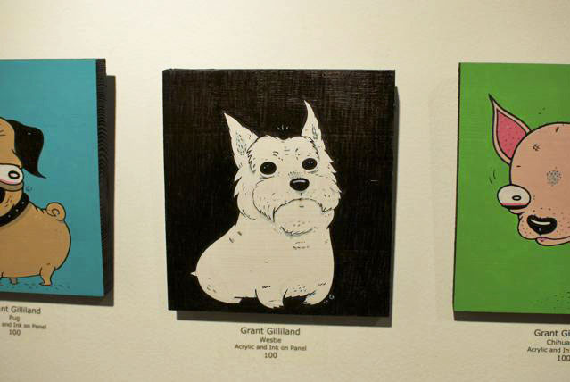 Grant Gilliand's adorable acrylic and ink interpretation of a Westie ($100).