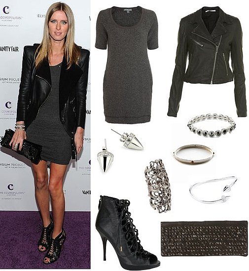 Nicky Hilton Wears a Leather Jacket and Minidress in Hollywood