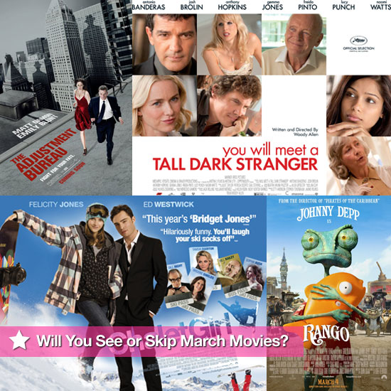 Movies Films Released at UK Cinemas in March 2011 Including Country Strong, Rango, Calet Girl, The Adjustment Bureau