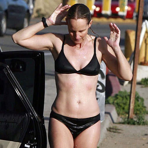 Helen Hunt went with a sporty suit for a dip in Malibu in January 2011.