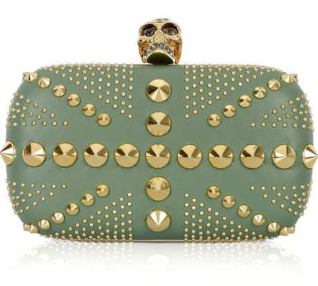 Investment Buy: Alexander McQueen Gold Skull and Stud Clutch