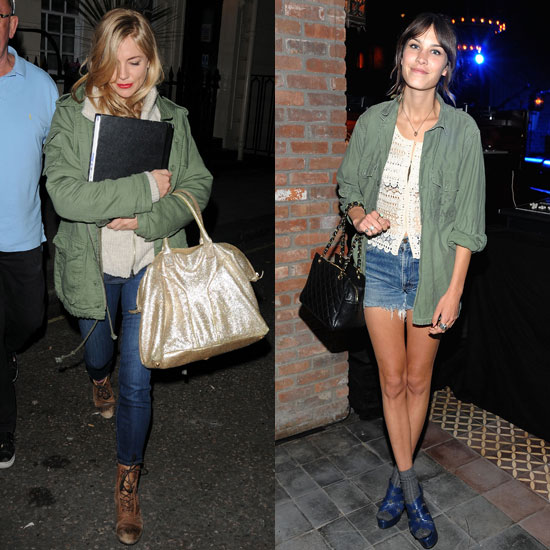Both give us their styled renditions of army jackets and denim.