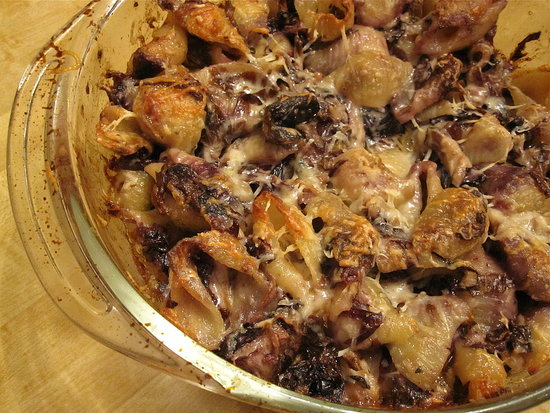 Baked Pasta With Radicchio and Mushrooms