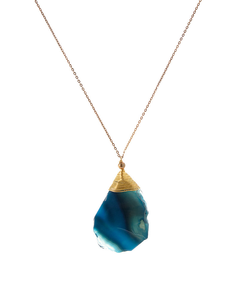 We love the look of Agate — that organic elemental feel with a kind of natural elegance.  Asos Genuine Semi Precious Agate Necklace ($18)