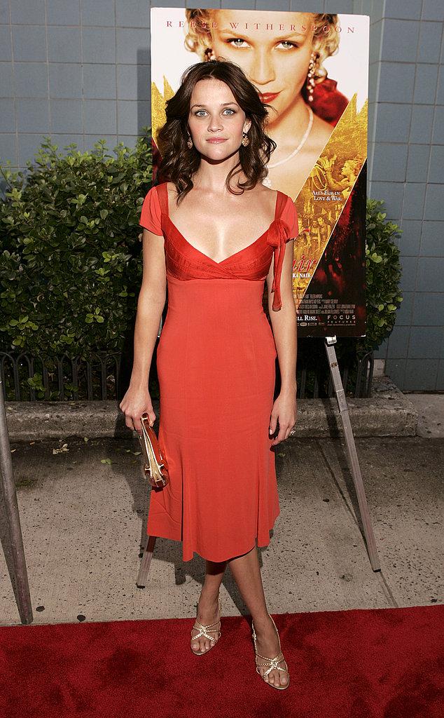 Reese Witherspoon in Orange Dress at 2004 Vanity Fair NYC Premiere