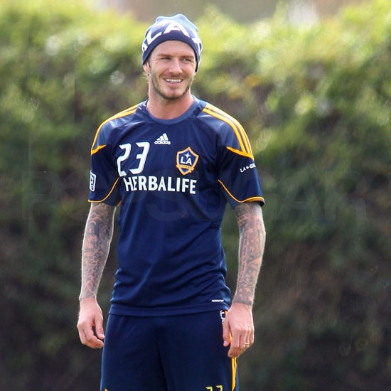 David Beckham Handsomely Hits the Field For Practice