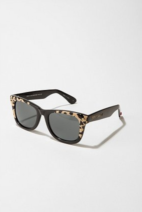 We love the catty print and classic shape.  Betsey Johnson Animal Wayfarer Sunglasses ($55)
