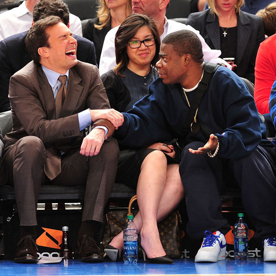 Pictures of Jimmy Fallon and Tracy Morgan at a Knicks Game