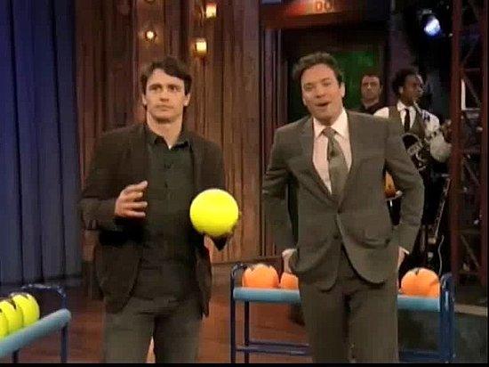 James Franco and Jimmy Fallon Play Life-Sized Ski Ball