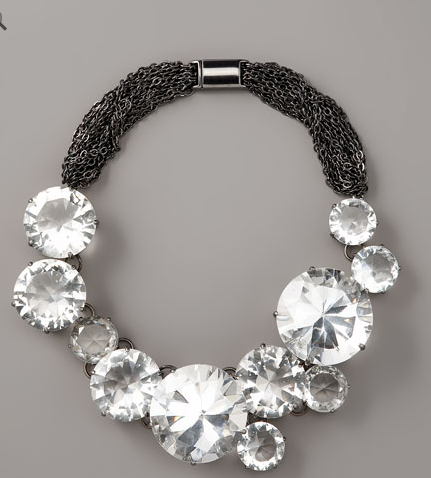 We like to think there are real diamonds this big on Treasure Island, but we'll work with this awesome Vera Wang big crystal necklace ($795).