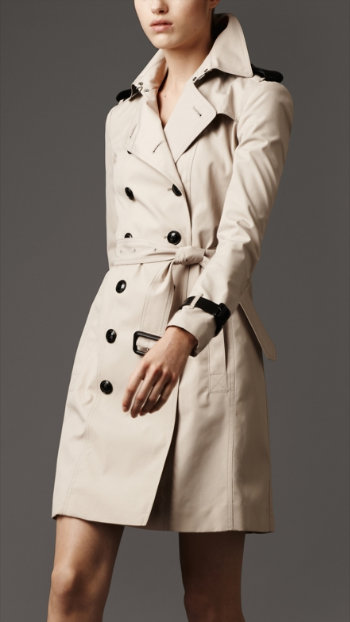 The creme de la creme of trench coats: this Burberry trench ($1,495) has leather detailing and epaulets, and all the luxury trappings of a classic Burberry trench coat.