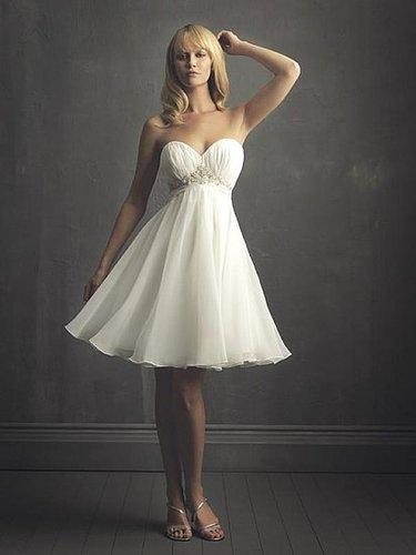 Elegant Sweetheart Chiffon Sash Short summer wedding dresses