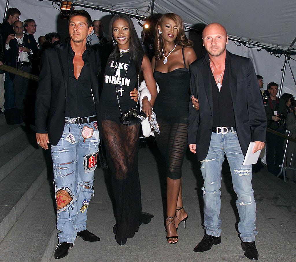 Stefano Gabbana, Naomi Campbell, Iman, Domenico Dolce —2001