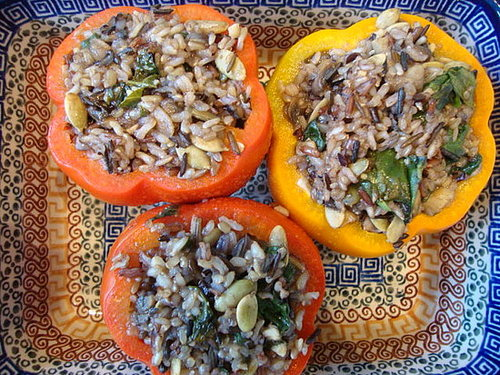 Wild Rice, Mushrooms & Spinach Stuffed Peppers