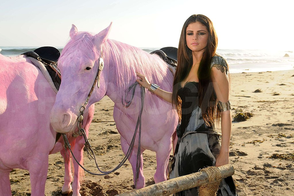 Selena Gomez Hits the Beach to Shoot a Video With Controversial Horses