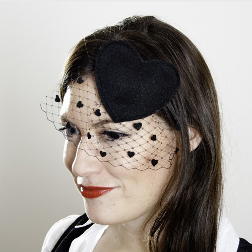 Black Heart Hairpiece With Black Birdcage Veil ($40)