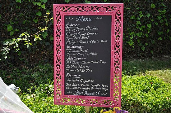 The menu (we made the board out of foam board and chalkboard paint)