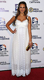 Pregnant Jessica Alba in White Dolce and Gabbana Maxi Dress