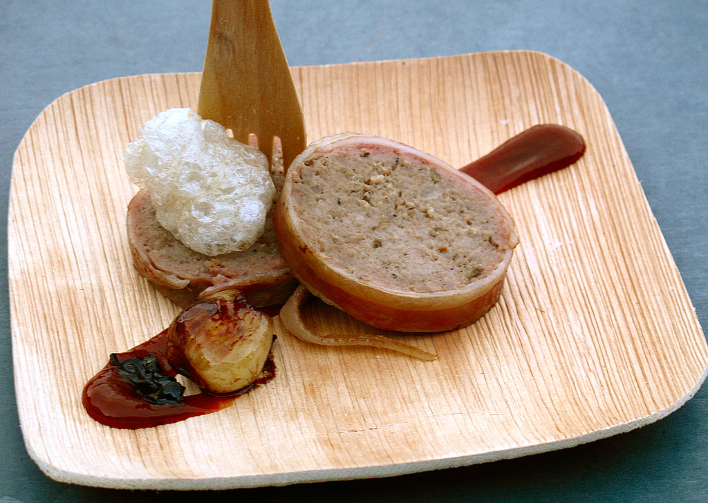 Bacon-wrapped pork with meatloaf