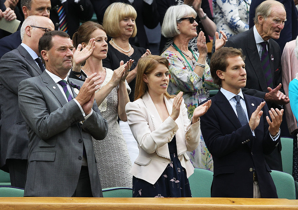 Princess Beatrice and Dave Clark cheered during a tennis match.