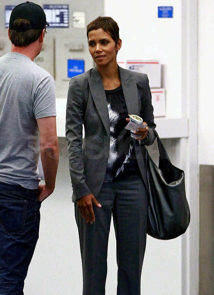 Halle Berry chatted with a friend.